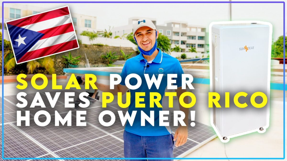 Puerto Rico Solar Panel Install w Sunbeat 9 6 KW Lithium Battery Backup Tesla Powerwall Rival